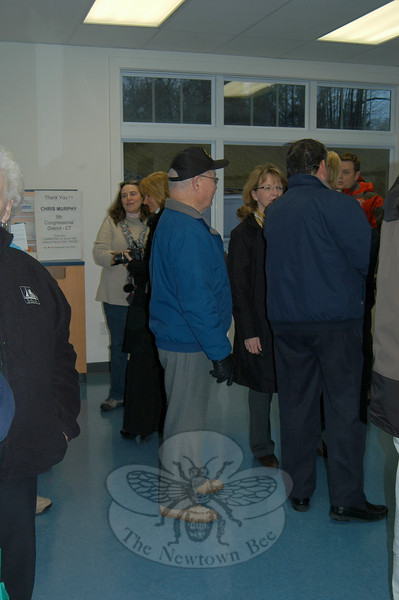 Happy post office patrons and supporters gathered at an impromptu celebration of the reopening  of Hawleyville Post Office on Monday morning, March 15.  (Crevier photo)