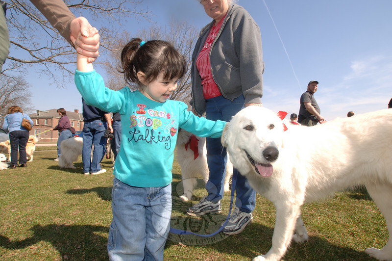 Nora Harvey is awed by Daisey as the little girl and large dog stand almost eye-to-eye.  (Bobowick photo)