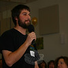 Matt Cole offered the first testimonial of the morning. Mr Cole is participating in his ninth workcamp trip, his second as a chaperone, and has a very good idea of what the workcampers are in for when they head to Biloxi in July. The Newtown resident has been to the Gulf Coast city five times already for Hurricane Katrina relief work.  (Hicks photo)