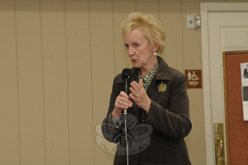 First Selectman Pat Llodra told elderly residents at a recent Nunnawauk Meadows session that she is impressed by the state's orderly operation of its nearby Garner Correctional Institution, a high security prison that opened in 1992.  (Gorosko photo)