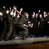 The XY Chromotones, an all-male a cappella singing group at Newtown High School, performed two songs during the Voices for Haiti Benefit Concert.  (Hallabeck photo)