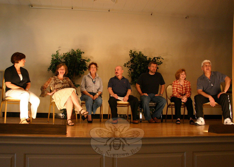 The cast and directors for the Play With Your Food season finale at Edmond Town Hall on April 8 sat for a brief question and answer session with the audience. From left is Director Kate Katcher, Artistic Director Carole Schweid, and actors Nadine Willig, Richard Leonard, Michael Habetz, Joan Grant and Don Striano.  (Hicks photo)