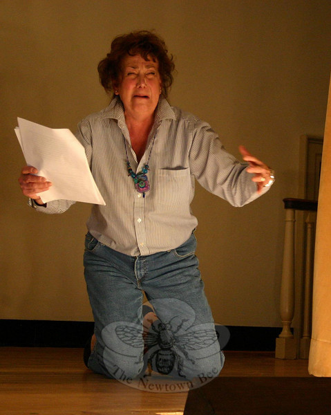 """The enemy is out there and the enemy is Bambi,"" wails Madge (Nadine Willig) in Mary Louise Wilson's Deer Play.  (Hicks photo)"