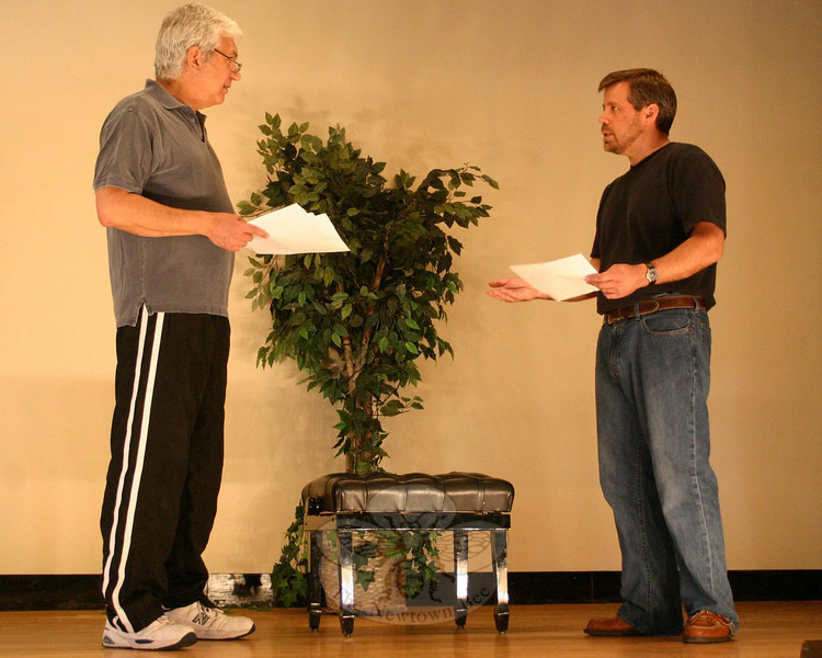 Five actors played a total of nine characters through the three plays offered in the Play With Your Food season finale on April 8. Don Striano, left, was a buck in Deer Play and an arrogant MLB umpire in Judgment Day, above. Likewise, Michael Habetz had a pair of roles last week, including a local man in Deer Play and another MLB umpire in Judgment Day.  (Hicks photo)