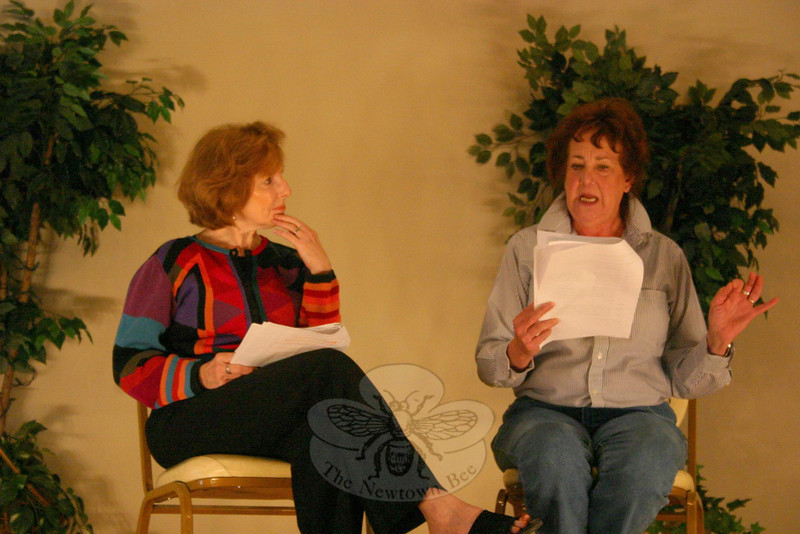 Mable (Joan Grant) and Madge (Nadine Willig) share a moment during Deer Play, one of the three one-act plays offered during the Play With Your Food season finale on April 9.  (Hicks photo)
