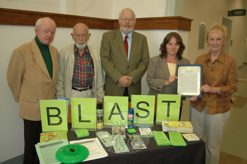 First Selectman Pat Llodra, far right, presented a proclamation identifying May as BLAST Tick-Borne Disease Out of Newtown Month. She is joined by Newtown Health District Director Donna Culbert; Dave Shugarts, Newtown's liaison to the Fairfield County Municipal Deer Alliance and the local tick-borne disease action committee; the committee's chairman Dr Robert Grossman; and Health Board Chairman Dr Thomas Draper, who were all on hand for the brief ceremony at the Municipal Center.  (Voket photo)
