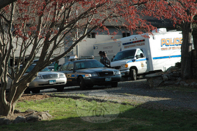 Town police and state police conducted an investigation on Wednesday and Thursday, April 14-15, at a residential property at 89 Poverty Hollow Road, after receiving a report that possible human remains had been found there. By early Thursday afternoon the case had become a homicide investigation. (Gorosko photo)