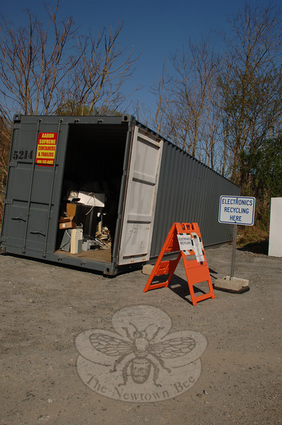 The Newtown transfer station on Ethan Allen Road now accepts electronics at its recycling station. Televisions, VCRs, old computer monitors, and hard drives are among items on the recyclables list.  (Bobowick photo)