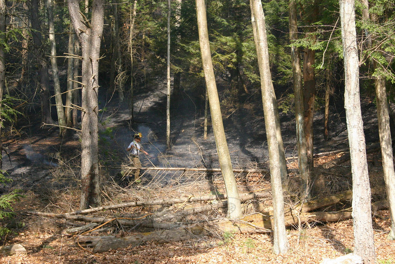 Sandy Hook Engineer Quinn Fontaine was one of nearly two dozen firefighters who responded to a brush fire at the end of Miya Lane on April 11.  (Hicks photo)