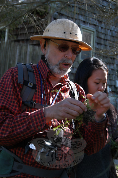 "Steve ""Wildman"" Brill led a group of novice wild foods foragers on a walking program at Sticks & Stones Farm on Saturday, April 10.  (Crevier photo)"