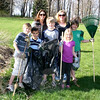 As part of the 3rd Annual Newtown Earth Day Festival on April 24, Newtown Lions Club will be running its own annual spring event: Lose The Litter Day. Jenifer Vaughan and Pam Buchler, standing in back, will be joined by their children and a friend — standing in front, from left, is Jack Vaughan, Henry Vaughan, Owen Rahn, Olivia Buchler, and Jack Buchler — who have all promised to help the Lions Lose the Litter next weekend.  (Hicks photo)