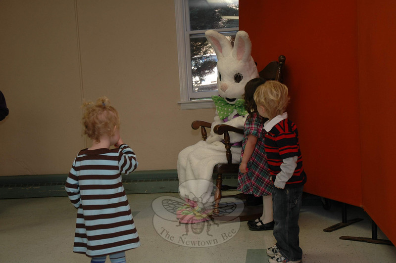 Newtown United Methodist Church hosted its annual Breakfast with The Easter Bunny on March 27. Some children seemed a little trepidatious when they first approached Saturday's special guest.  (Gorosko photo)