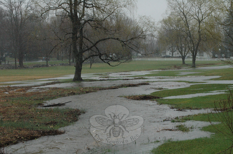 The Ram Pasture, looking to the southeast from the intersection of Sugar Street and Elm Drive, had a lot of extra water this week.  (Gorosko photo)