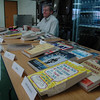Newtown Parent Connection volunteer librarian Dave Eaton was handling Newtown Parent Connection's lending service, providing self-help and subject-specific materials for attendees at Parent University.  (Voket photo)