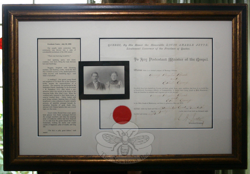 This marriage license, a photo of Henry Buck and Ethel Corey, and a reproduced newspaper clipping celebrating the wedding of Henry and Ethel is the collection of documents that started Joyce DeWolfe's journey into her family history.  (Hicks photo)