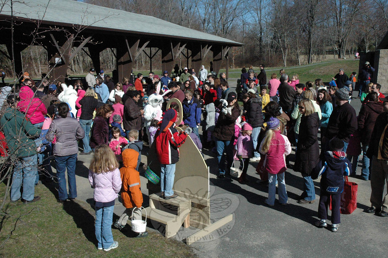 Hundreds turned out for the Annual Parks & Rec Spring Egg Hunt at Dickinson Park on Saturday, March 27. There were egg hunts for two age groups. (Gorosko photo)