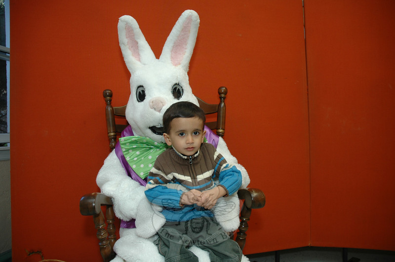 Events to celebrate the return of Easter were celebrated across town last weekend, with activities for many ages hosted by Newtown Parks & Recreation as well as many of the town's churches. Young Zal Moody spent some time visiting with the Easter Bunny on Saturday, March 27, in the church hall at Newtown United Methodist Church in Sandy Hook Center.  (Gorosko photo)