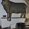 According to information from the Newtown Historical Society, this molded copper Merino ram weathervane, which is exhibited just off the keeping room in the Matthew Curtiss House on Main Street, was most likely crafted by L.W. Cushing and Co. of Waltham, Mass., sometime between 1875 and 1895. Bee Photo, Nancy K. Crevier