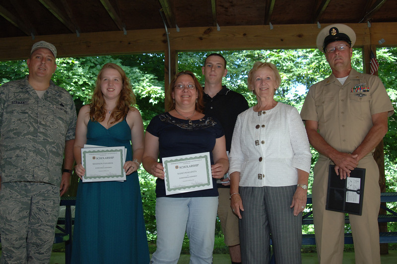 Gathered at VFW Post 308 on June 30 were scholarship recipients and essay contest winners Shannon Panasiuk and Nanci Wallenta, holding their certificates. On the left is Senior Vice Commander James Rebman. On the right is First Selectman Pat Llodra and far right, Veterans of Foreign Wars Post 308 Commander Dan Kearns ,who received a certificate on behalf of his daughter Caseyrose Kearns. Standing in the back is the fourth scholarship winner, James Patrick Rebman.  (Bobowick  photo)