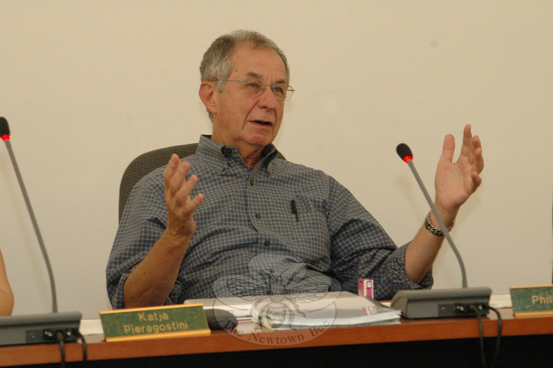 Inland Wetlands Commission member Philip Kotch raised issues on May 26 concerning the Housatonic Railroad Company's pending application for a wetlands protection permit for its 13.3-acre property at 30 Hawleyville Road (Route 25).  (Gorosko photo)