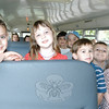Students attending Newtown Congregational Preschool toured Newtown's public elementary schools on Friday, May 28, to see a glimpse of what to expect in kindergarten next year. Owner-operator LeReine Frampton provided transportation for the day. The preschoolers stopped for a photo before stepping off the bus to visit Hawley Elementary School, the day's first stop.  (Hallabeck photo)