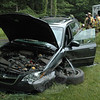 This Subaru station wagon was involved in a three-vehicle accident that occurred about 5:57 pm on June 1 on Hanover Road, near its intersection with Bramble Trail. Police report that motorist Hoa Nguyen, 38, of Old Greenwich was driving a 2007 Honda sedan northward on Hanover Road in front of a northbound 2003 Subaru station wagon driven Michael Labet, 62, of New Milford. At that time, motorist Jodi French-Gold, 47, of Dinglebrook Lane was driving a 2008 Subaru station wagon southward on Hanover Road. The Honda attempted to make a left turn to enter a private driveway at 139 Hanover Road, but in doing so the Honda drove in front of the approaching southbound 2008 Subaru. The 2008 Subaru attempted to avoid the Honda, but could not and the two vehicles collided. The 2008 southbound Subaru continued onward and collided with the northbound 2003 Subaru, according to police. Newtown Volunteer Ambulance Corps staffers went to the scene, but all people involved in the accident refused transportation to Danbury Hospital, police said. Newtown Hook & Ladder firefighters responded to the scene. Police said they issued Nguyen a written warning for failure to grant the right of way.  (Gorosko photo)