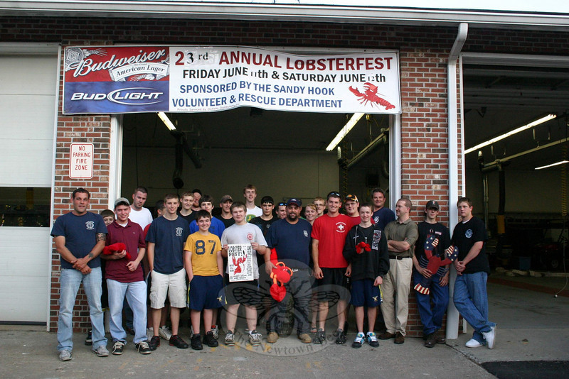 "Members of Sandy Hook Volunteer Fire & Rescue Company invite the public to join them for the company's 23rd Annual Lobsterfest on Friday, June 11, and Saturday, June 12. The event will be held at the company's main station, at 18-20 Riverside Road. Hours on Friday are 5 to 9 pm, and on Saturday from 3 to 9 pm. Ticket prices have been held at $22 in ad-vance and $24 at the door for the third year, and can be purchased in advance at the Newtown fire marshal's office within Newtown Municipal Center, at The Newtown Bee offices at 5 Church Hill Road, or at the Riverside Road Firehouse. The event is a fundraiser for the fire company. On Friday morning, the company will be featured on FOX-61 when reporter Jeff Valin visits and does a set of his ""Firehouse Fridays"" series from the Riverside Road station. Set your DVRs if you must. FOX-61's morning shows begin at 4:30 am and continue until 9.  (Hicks photo)"