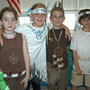 From left, Jolene Risko, Alexa Leidlein, Connor DiNallo, and Thomas Skreli presented a family of Native Americans during Middle Gate's Living Museum.  (Hallabeck photo)