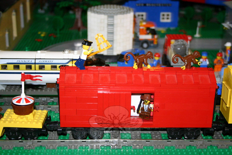 "The Danbury Railway Museum exhibition ""The Connecticut and Vermont LEGO® Railway,"" an operating model train layout made entirely of Legos, has been extended to June 27. Among the whimsical items within the massive project is this circus train car with escaped monkeys.  (Hicks photo)"