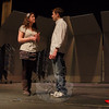 Newtown High School seniors Hannah DeFlumeri and Andrew Nichols stand together during a rehearsal for the school's upcoming musical Gypsy. Hannah portrays Rose in the play, and Andrew plays Herbie. Performances begin March 11.  (Hallabeck photo)