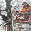 Botsford Fire Rescue volunteer firefighter Steve Osmolik was positioned at the end of the ladder extended from Sandy Hook's Quint fire truck at about 11:30 am February 25, and was just about to reach out to rescue a black long-haired cat that had been stuck for days in a tree off Marlin Road when the frightened cat suddenly jumped out of the tree, dropped about 20 feet to the ground, and ran off into a rocky, wooded area.  (Gorosko photo)