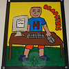 New artwork decorates the hallway outside of Hawley Elementary School's multipurpose room thanks to the work of 25 fourth grade students, who spent their lunch and recess creating 12 posters. Maddy Albee and Cory Mangold created this Computers poster. (Hallabeck photo)