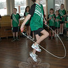 Grace Baker, foreground, a member of The Moon Jumpers, displays her abilities with a jump rope in a demonstration presented Saturday, February 27, at Masonicare at Newtown. Members of The Moon Jumpers also performed for residents at the adjacent Lockwood Lodge, an assisted living facility.  (Gorosko photo)