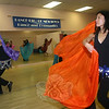 The members of Egyptian Sunrise practice their belly dancing every Thursday night at the Dance, Etc studio on Mt Pleasant Road in Newtown. At right is Yili Hammer, who says instructor Alarah is a great dancer and terrific teacher who fills the classes with energy and enthusiasm. The group will be performing its next public show on March 6 in Bethel.  (Hicks photo)
