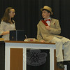 Newtown Middle School students Megan Primavera and Jeff Haylon, during a dress rehearsal for The Music Man. The show is scheduled to run this weekend, and Megan will be portraying the town librarian Marion Paroo, while Jeff will be performing the part of Harold Hill, a traveling conman.  (Hallabeck photo)