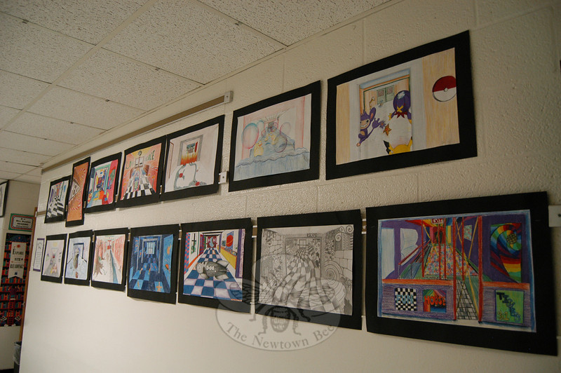 Art lined the walls of Newtown Middle School during its Celebration of the Arts on Tuesday, May 4.  (Hallabeck photo)
