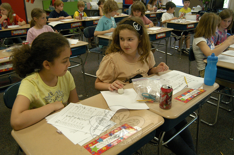 Head O' Meadow third graders Danielle Wassmer, left, and Bela De Leon worked to test the magnetism of objects in Chrissie Pierce's classroom during Matter Matters Day.  (Hallabeck photo)