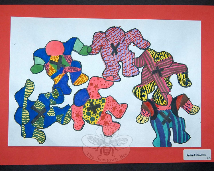 "The late contemporary artist Keith Haring was the inspiration behind a collection of ""Figures in Motion"" by third grade students, including this illustration by Ardian Kodzodziku.  (Hallabeck photo)"
