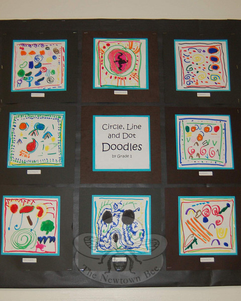 """Circle, Line & Dot Doodles"" produced by first grade students were part of the collections on view at Hawley School during its Art Night on May 5.  (Hallabeck photo)"