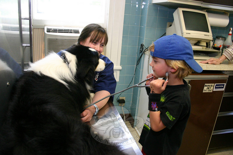 Mary Simpson introduced her guests to Travis, a very calm and child-tolerant 2½-year-old Australian shepherd. Tighe Zavatsky was one of those who took advantage of Mary's invitation to check Travis's heartbeat.  (Hicks photo)