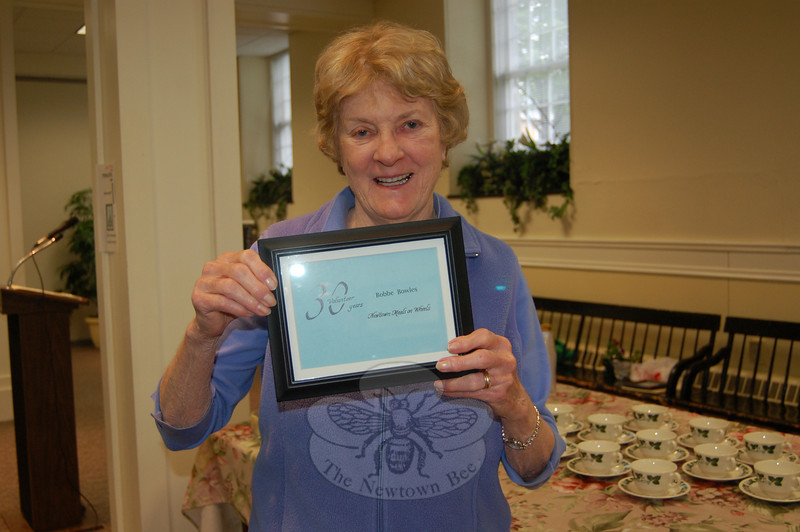 Bobbe Bowles is the recipient of this year's only Newtown Meals On Wheels 30-year plaque, awarded Wednesday morning, May 12, at the annual appreciation breakfast.  (Crevier photo)