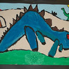 A colorful collection of paintings of fantastical dinosaurs filled a pair of bulletin boards, including this blue dinosaur by Kyle Griffin.  (Hallabeck photo)