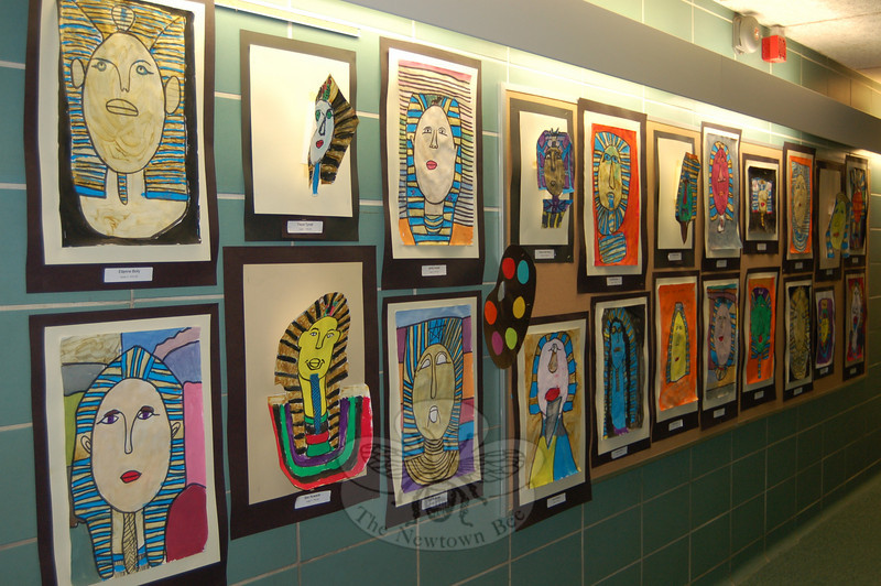 Third grade students at Sandy Hook School had their Egyptian-inspired art on view for friends and family during the school's Art Night held on Tuesday, May 5. (Hallabeck photo)