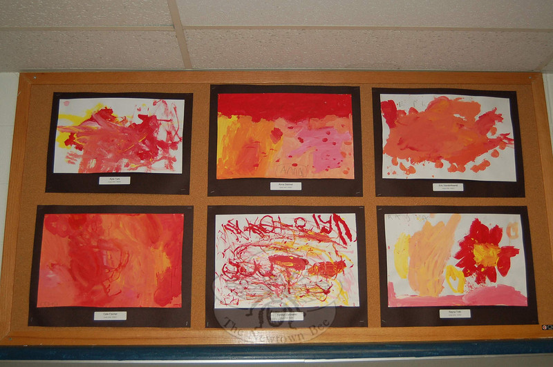 A collection of paintings by kindergarten artists.  (Hallabeck photo)