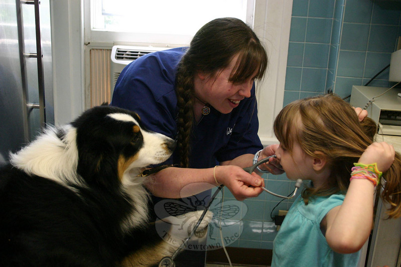 Mary Simpson helped Catherine Murphy put on a stethoscope while Travis, an Australian sheep dog, patiently waited to have his heart listened to.  (Hicks photo)