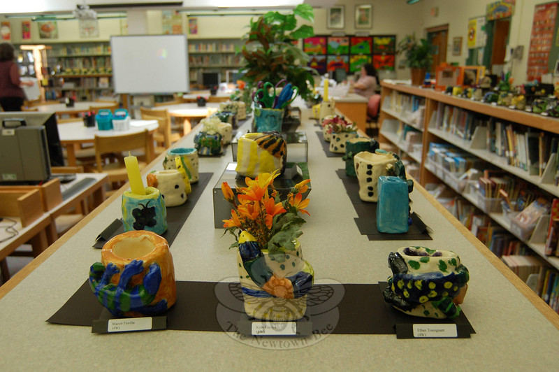 Clay pots were also on view in the school's library for the Hawley School's Art Night on Tuesday, May 5.  (Hallabeck photo)