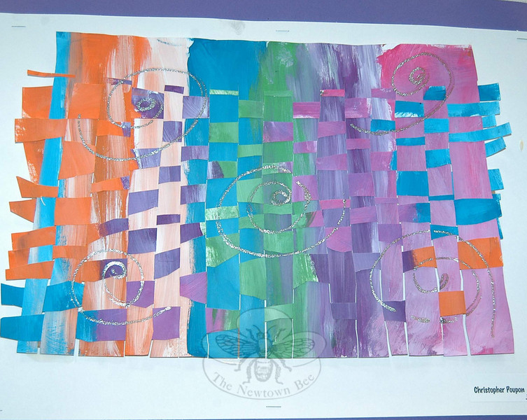 Paper weavings were created by third grade students. This was Christopher Poupon's offering.  (Hallabeck photo)