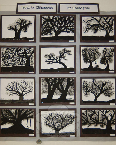 Fourth grade students did these trees in silhouette. (Hallabeck photo)