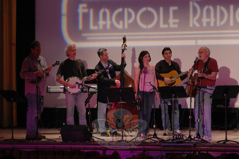 Folk singer and social activist Peter Yarrow (right) performed with The Radio Café Orchestra during the season finale of The Flagpole Radio Café at Edmond Town Hall on May 22. From left is Michael Sassano, Dick Neal, Rick Brodsky, Francine Wheeler, and Jim Allyn.  (Gorosko photos0