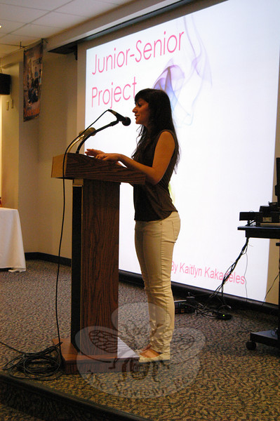 Newtown High School student Kaitlyn Kakadeles presented her Junior-Senior Project, a collection of poetry, on Monday, May 24, in the school's Lecture Hall.  (Hallabeck photo)